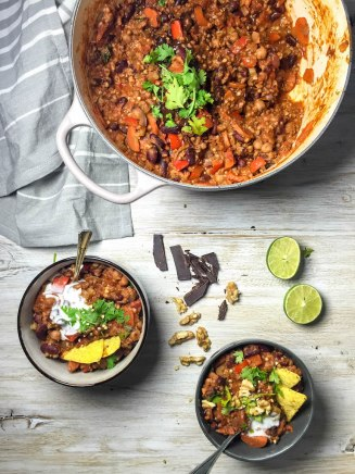 Bean and Buckwheat Chili with Dark Chocolate - plant-based, vegan, vegetarian, refined sugar free, gluten free - heavenlynnhealthy.com