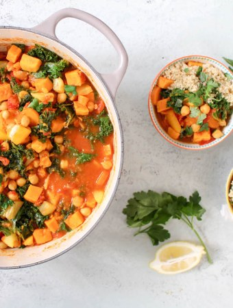 Moroccan Spiced Chickpea, Kale and Sweet Potato Stew
