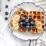 Healthy Blueberry Buckwheat Waffles with Berry Chia Sauce