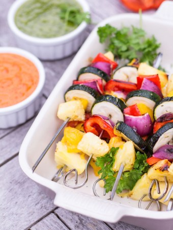 Grilled Mango & Pineapple Vegetable Skewers with Mojo Rojo & Mojo Verde