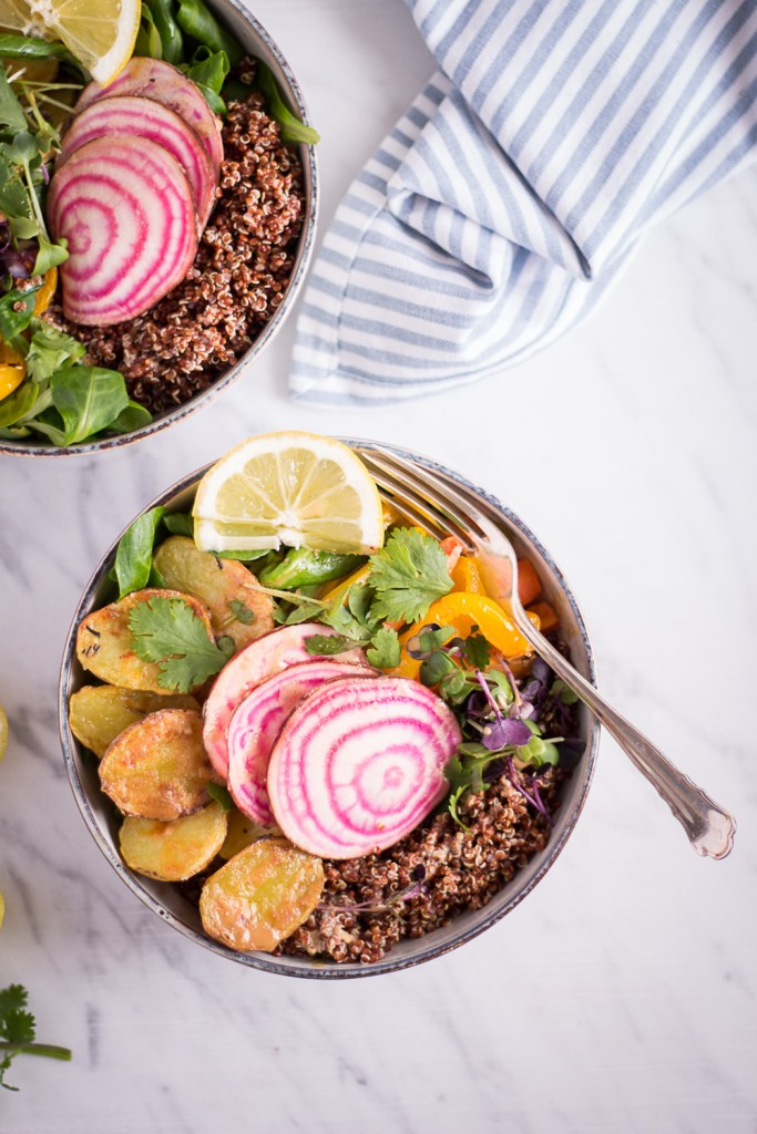 Spring Bowl with Lemon Tahini Dressing - plant-based, vegan, gluten free, refined sugar free - heavenlynnhealthy.com