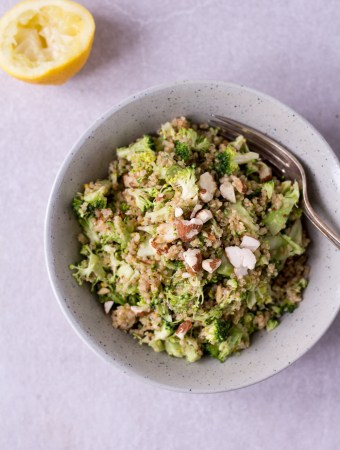 Raw broccoli quinoa power salad