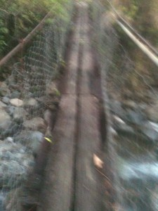 Blurry picture of the little bridge crossing the river