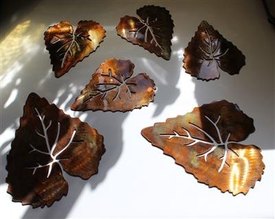 6 Metal Aspen Leaves