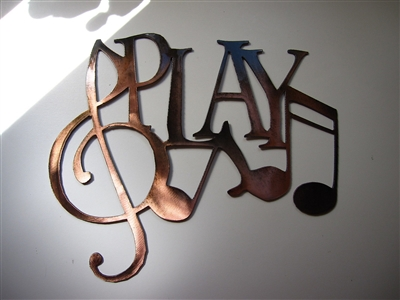 Play W Music Notes Metal Wall Art