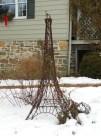 Scale model Eiffel tower steel sculpture