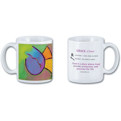 Mug with pastel art showing Grace in Ancient Hebrew by Marla Jean Clinesmith