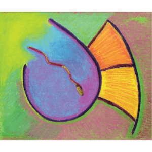 "Pastel depicting ""Grace"" in Paleo Hebrew art by Marla Jean Clinesmith"