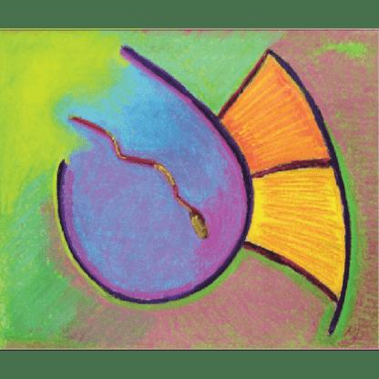 "Pastel depicting ""Grace"" in Paleo Hebrew art by Marla Jean Clinesmith"