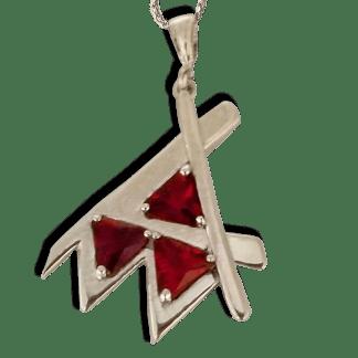 Em Pendant Silver Red Stone