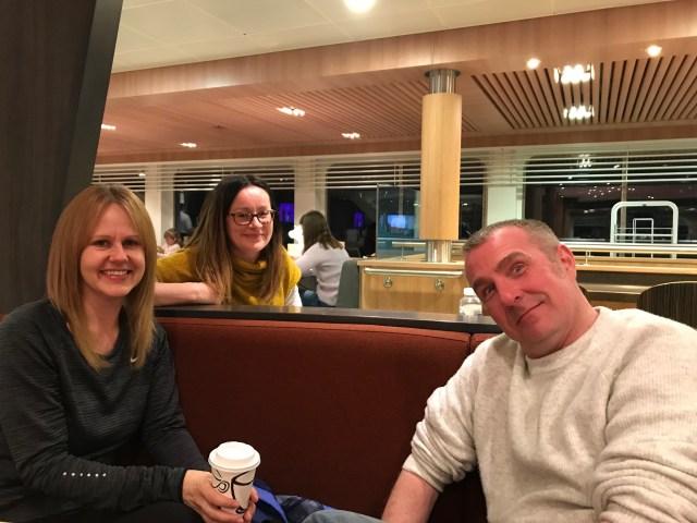 Three friends on ferry