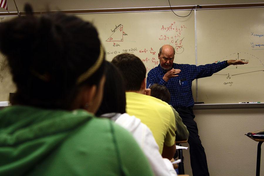 Physics+teacher+Jim+Stockton+teaches+his+students+how+to+use+dimensional+analysis.