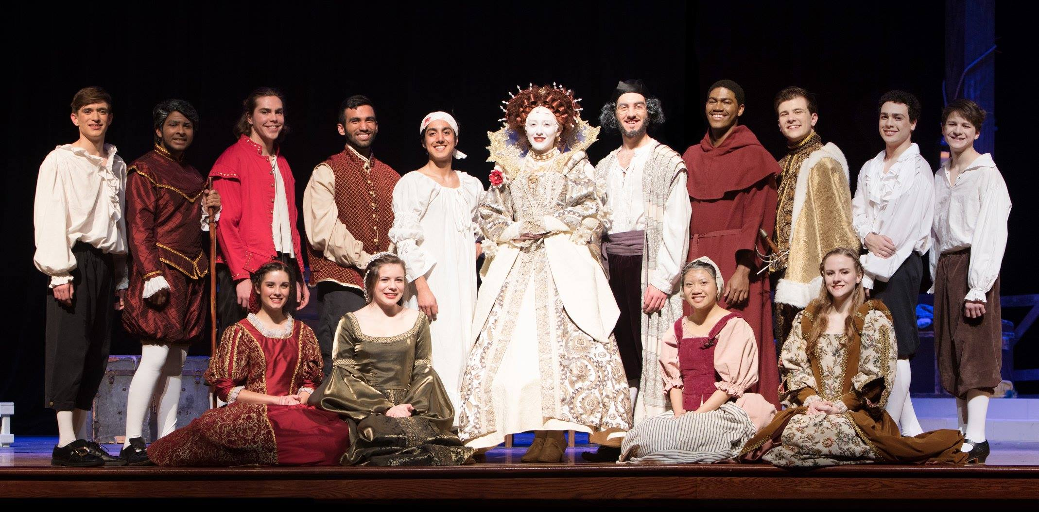 The cast of Elizabeth Rex. From left to right first row: Caleb Geddie, Rayan Moosa, Bailey Ray, Mihir Lulay, AJ Abdullah, Brooke Loye, Sean Ghedi, Ryan Hamilton, Joseph Hoffman, Spencer Kahn, and Dalton Currey. Second row: Sami Droste, Caitlin Kresta, Gabbie David, and Amanda Bonds.