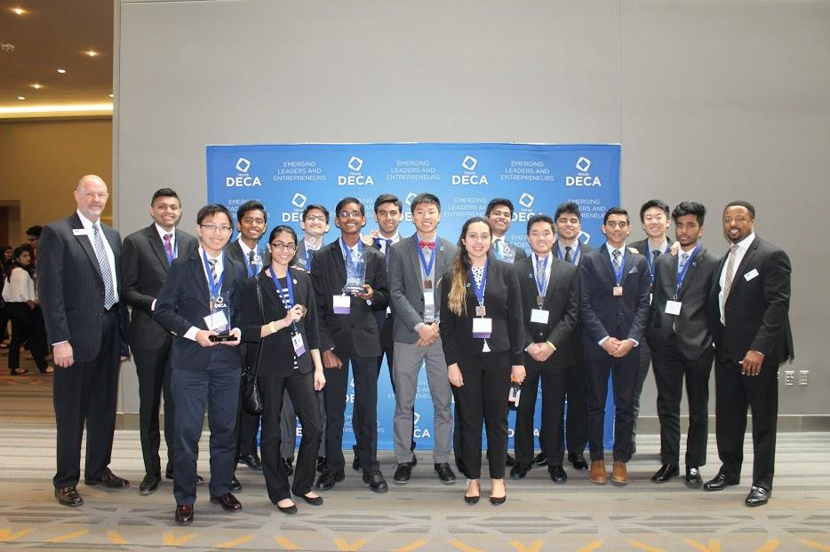 Finalists and winners pose for a photo at the DECA State competition held in San Antonio on Feb. 23 to 25.
