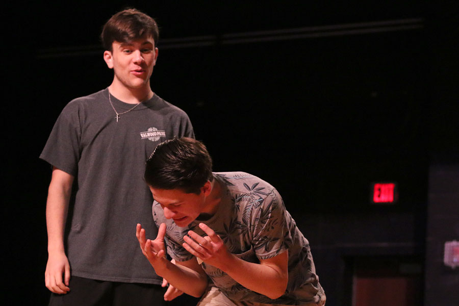 Juniors+Joseph+Hoffman+and+Dalton+Currey+play+the+improv+game+%E2%80%9Cconfessions%E2%80%9D+during+a+practice+before+school+on+May+18.+Theater%E2%80%99s+improv+show+will+be+held+in+the+auditorium+on+May+24+at+7+p.m.