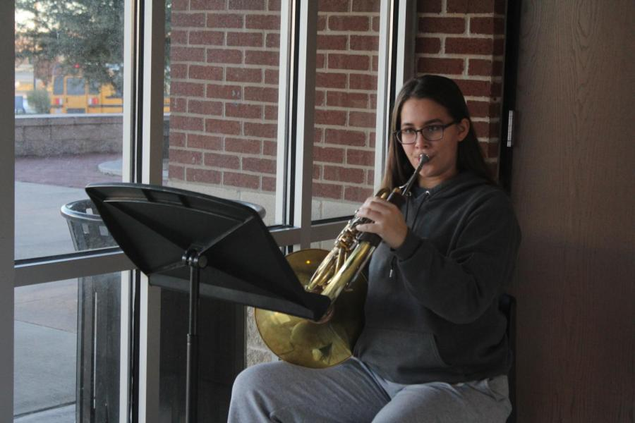 Junior+Xinrae+Cardozo+warms+up+on+her+French+horn+before+school.+She+is+a+three-time+Area+musician.+