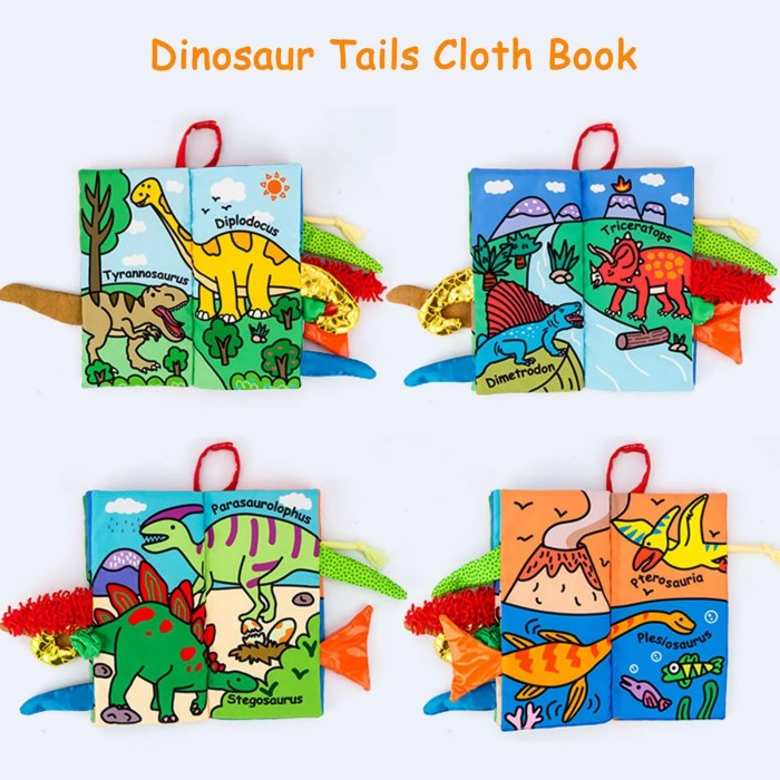 Baby soft book dino tails