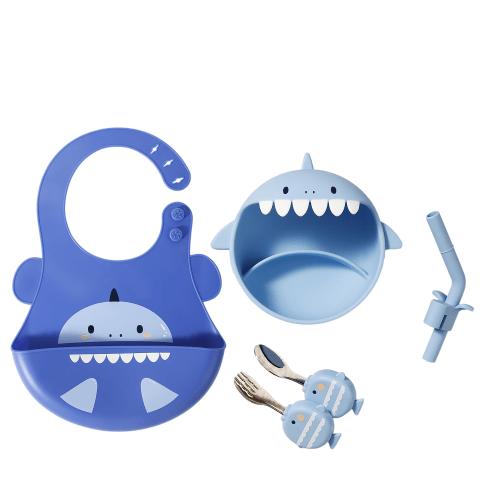 Silicone Weaning Baby Feeding Set-(shark-blue)