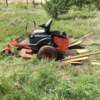 One stuck mower