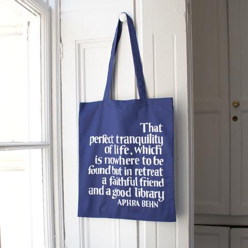 Hedda House Gift Guide // Aphra Behn library quote Tote bag.