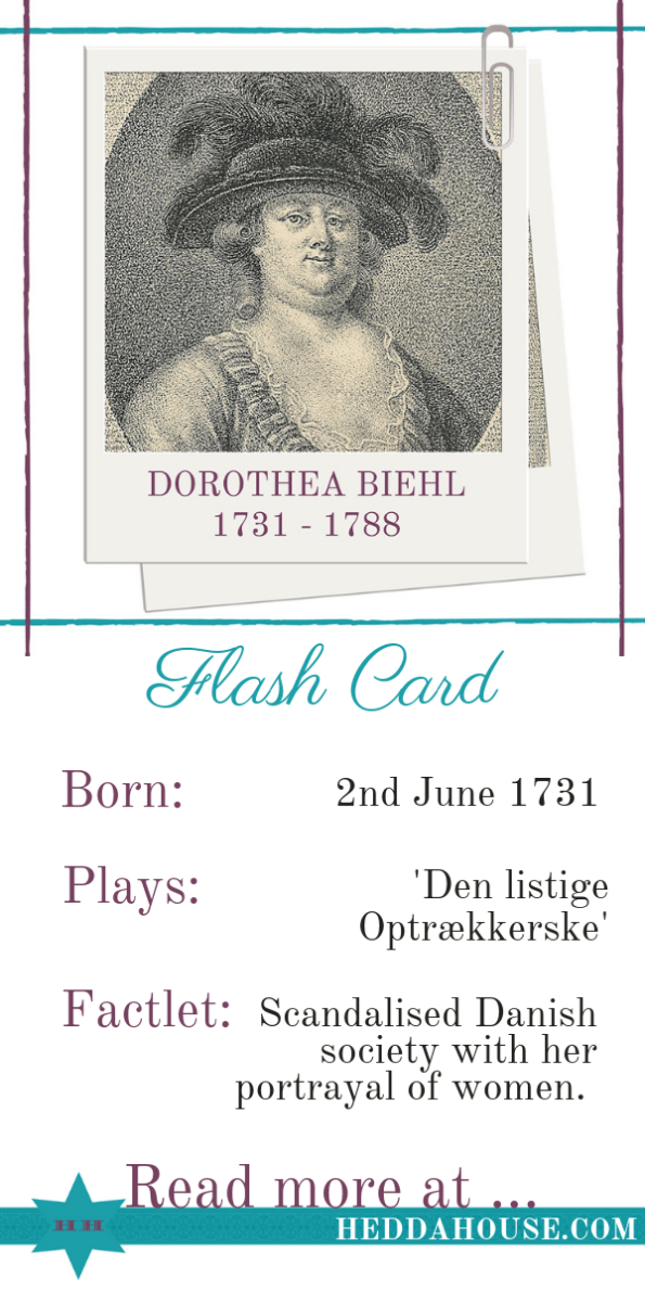 Biography of eighteenth century, enlightenment, Danish female playwright Dorothea Biehl by Hedda House.