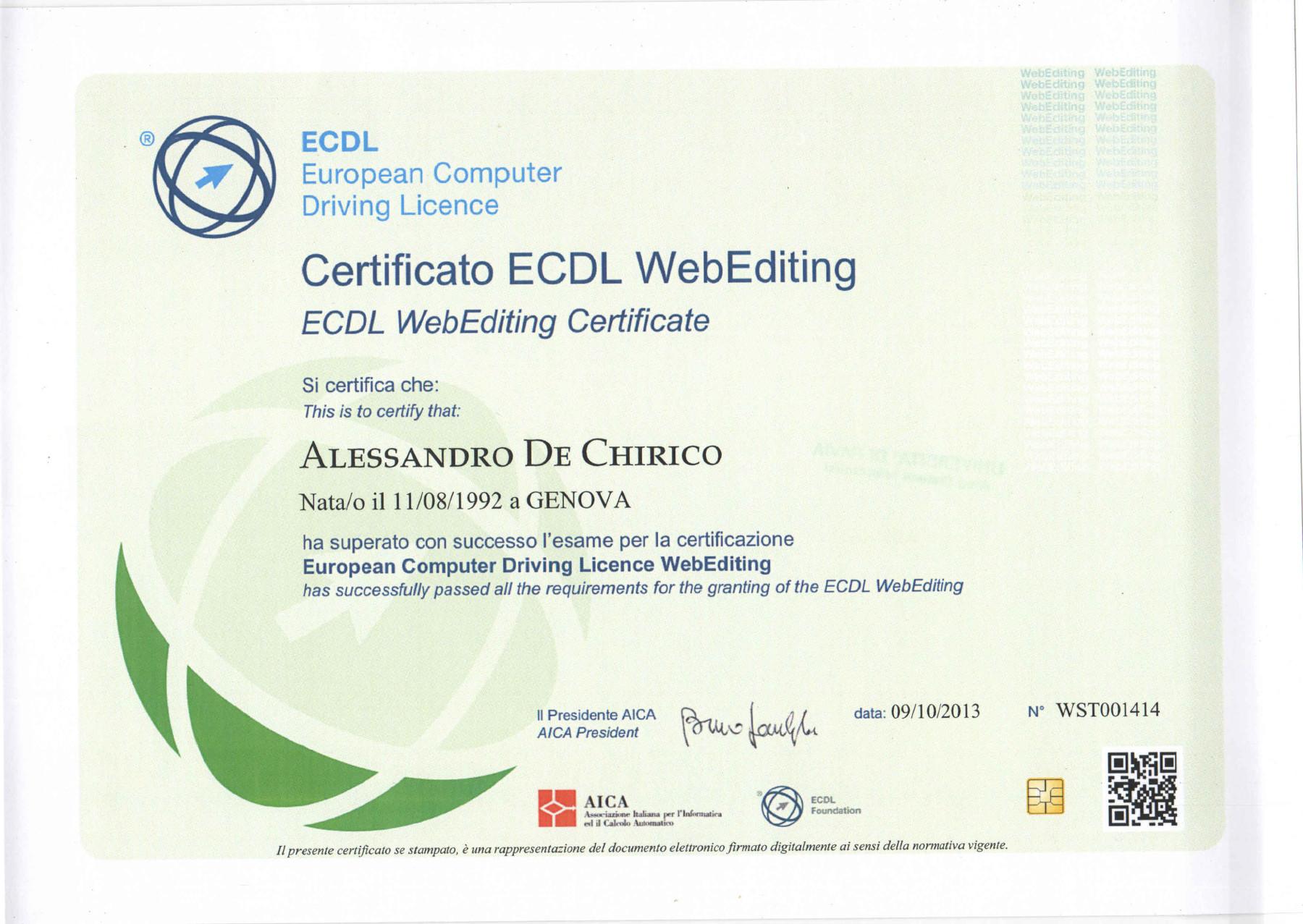 ECDL Web Editing di Alessandro De Chirico