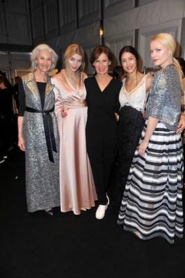 Catherine Loewe; Luisa Hartema; Eva Lutz; Rebecca Mir; Franziska Knuppe - Mercedes Benz Fashion Week Berlin/ Show MINX by Eva Lutz (Foto SuccoMedia / Ralf Succo)
