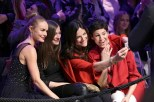BERLIN, GERMANY - JANUARY 17: Kate Bosworth, Alexandra Maria Lara, Bettina Zimmermann and Jasmin Gerat take a selfie during the Marc Cain fashion show fall/winter 2017 'Ballet magnifique' at 'Telekom Representation' on January 17, 2017 in Berlin, Germany. (Photo by Gisela Schober/Getty Images for Marc Cain)