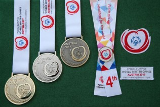 SCHLADMING,AUSTRIA,19.MAR.17 - SPECIAL OLYMPICS, ALPINE SKIING - World Winter Games, novice, intermediate and advanced, Super G, award ceremony. Image shows medals. Keywords: medals. Photo: GEPA pictures/ Harald Steiner