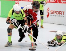 GRAZ,AUSTRIA,19.MAR.17 - SPECIAL OLYMPICS, FLOOR HOCKEY - World Winter Games, round robin games. Image shows Special Olympics athletes from Ukraine/ Europe and Canada. Photo: GEPA pictures/ Mario Buehner