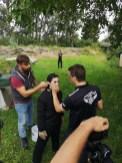 Mathias Kniepeiss Stunt & Photography Masterclass-Workshop - Bernadette Kizik wird von Joe Tödtling und Markus Weilguny für den Body burn vorbereitet (Foto Hedi Grager)