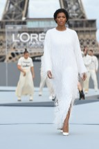 """PARIS, FRANCE - OCTOBER 03: Didi Stone walks the runway during """"Le Defile L'Oreal Paris 2021"""" as part of Paris Fashion Week on October 03, 2021 in Paris, France. (Photo by Pascal Le Segretain/Getty Images For L'Oreal)"""