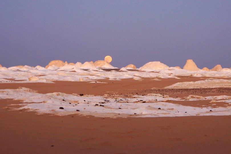 Egypte : Désert blanc - Lever de lune