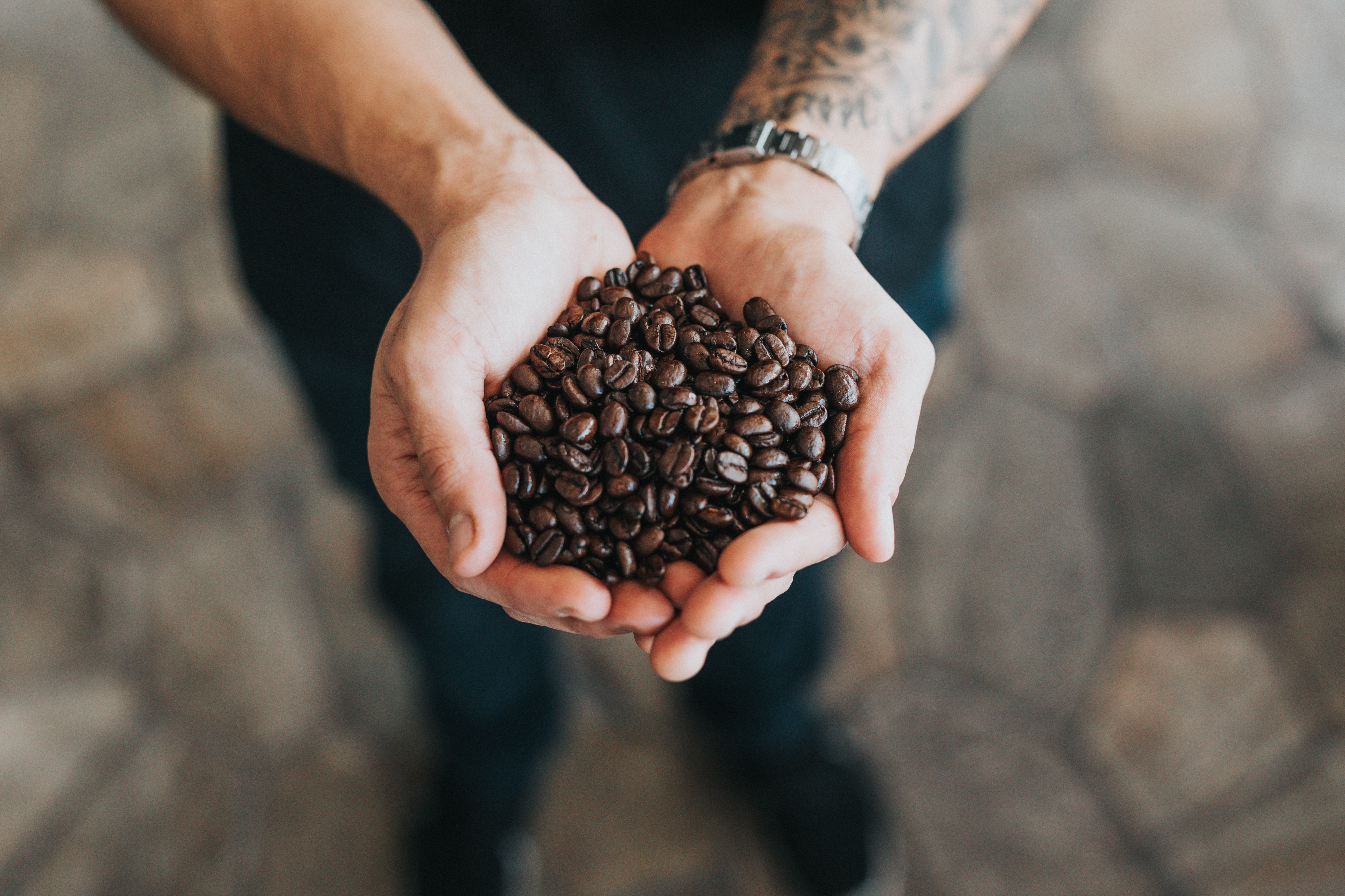 """Two hands holding coffee beans from the Heed PR post """"What Is PR? And Why Do I Want This Coffee?"""""""