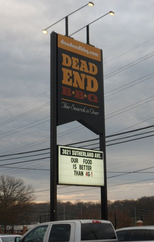 Dead End BBQ sign