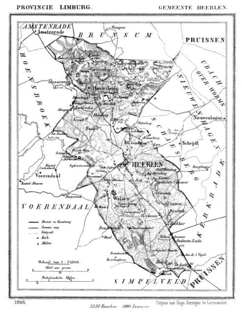Bron: J. Kuijper | Gemeente Heerlen in ca. 1870 kaart, waarop Vrusschemig te zien is