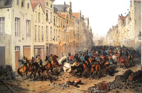 Obeert de opstandelingen in Brussel neer te slaan. Echter zij is geen partij voor straatgevechten, kijk hoe de opstandelingen zich verdedigden.
