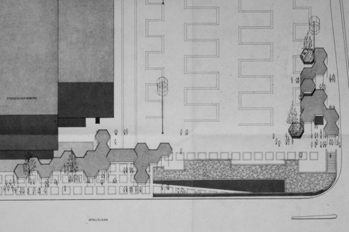 Plan aankleding Burgemeester van Grunsvenplein zuidzijde, 1972