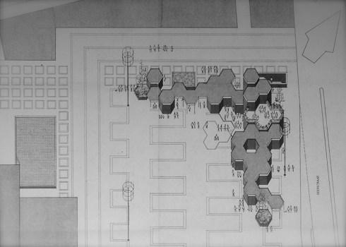 Plan aankleding Burgemeester van Grunsvenplein noordzijde, 1972