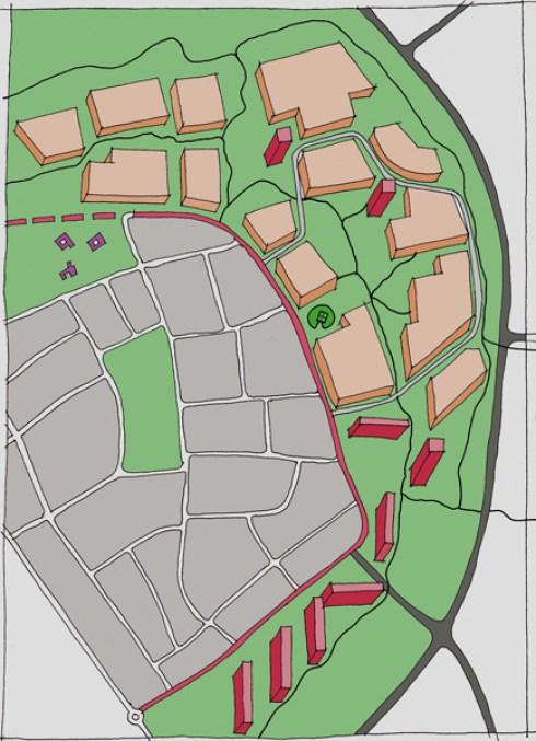 """Stedenbouwkundige schets van de """"Schil"""", Ton van Mastrigt, 2006"""