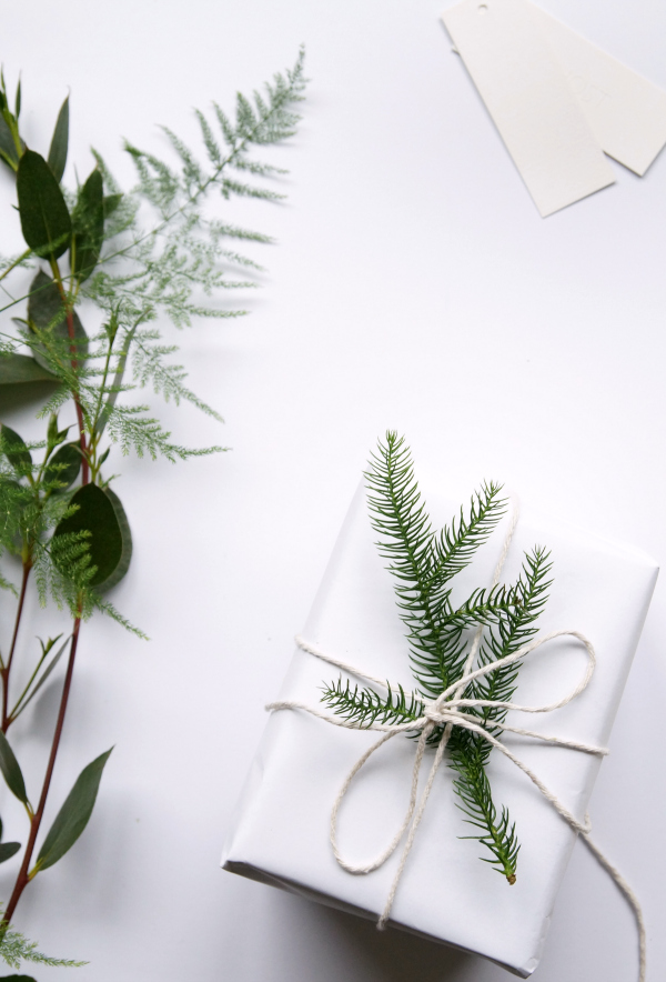 white_gift_wrapped_christmas_present_with_foliage