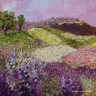 Purple landscape embroidery