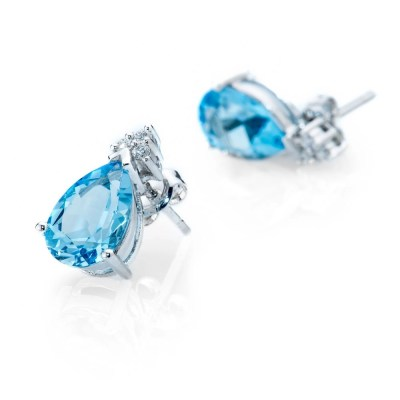 Heidi Kjeldsen Striking Blue Topaz and Diamond Drop Earrings ER1758