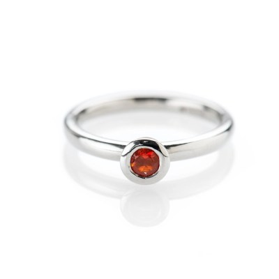 Rare Fire Opal in 9ct White Gold Stacking Ring