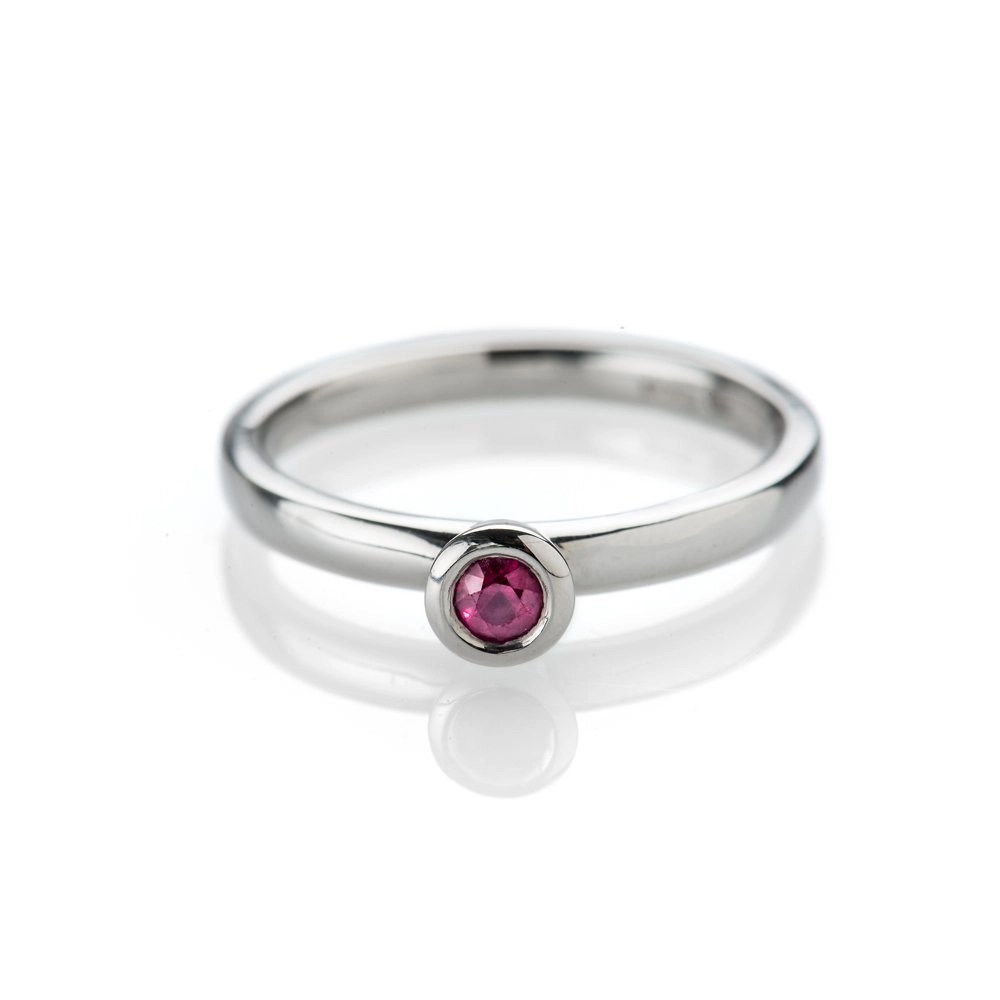 Stylish Deep Red Natural Ruby And Gold Stacking Ring