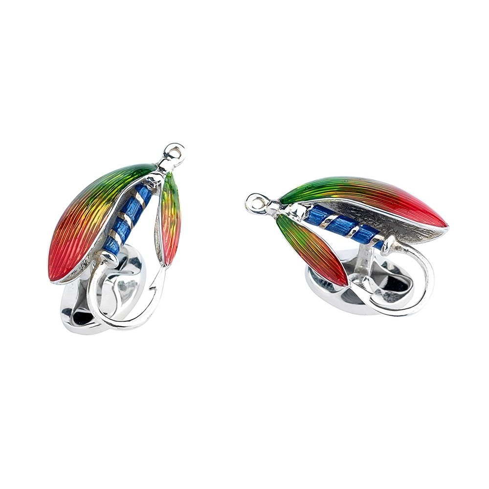 Solid Sterling Silver Fly Fishing Cufflinks