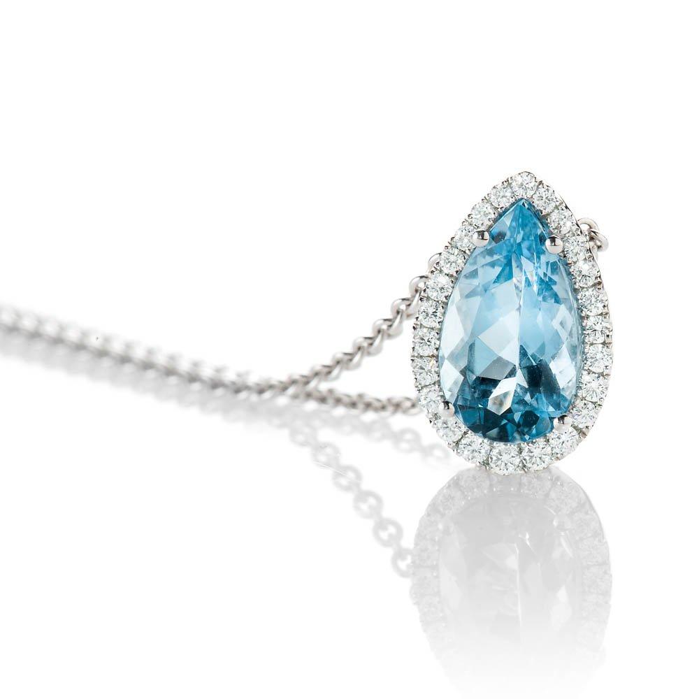 Stunning Deep Blue Natural Aquamarine, Brilliant Cut Diamond And Gold Drop Shaped Pendant