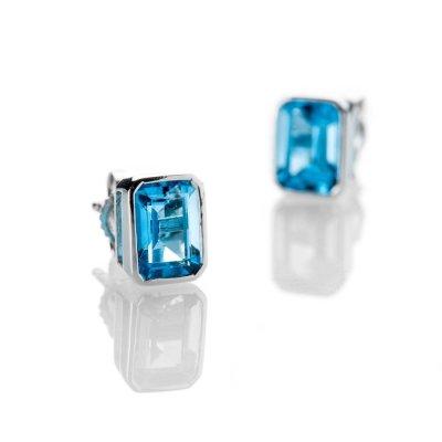 Heidi Kjeldsen Vibrant Swiss Blue Topaz And 9ct White Gold Earrings - ER2302-1