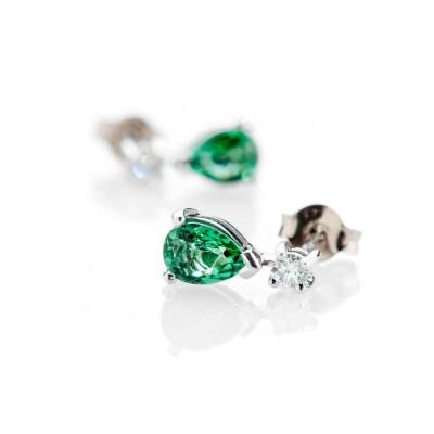 Heidi Kjeldsen Exquisite Chrome Green Natural Tourmaline Brilliant Cut Diamond And Gold Drop Earrings - ER2349-1