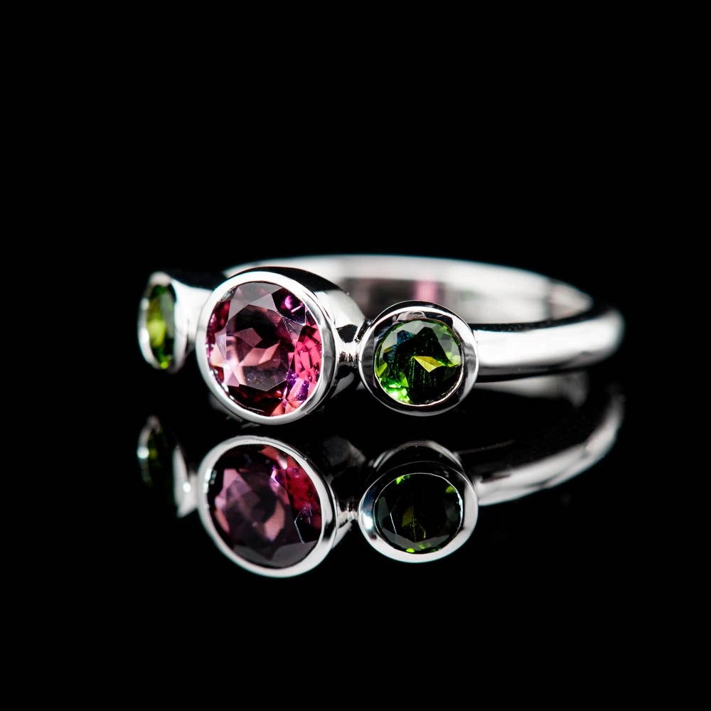 Heidi Kjeldsen Glorious Pink And Green Natural Tourmaline And Gold Cocktail Or Dress Ring - R1328-4